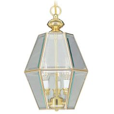 Livex Lighting Home Basics 3 Light Hall And Foyer Lamp: Livex Lighting Home Basics 3 Light Hall and Foyer Lamp, polished brass with beveled glass inserts.