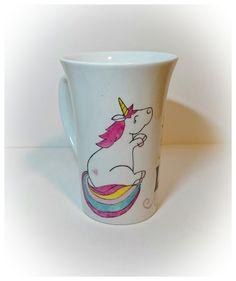 Mug licorne. Peinture sur porcelaine à retrouver sur : http://viliv.canalblog.com/