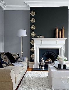 Dark feature wall (chimney breast) with gold leaf stencil, I love this! by louisa