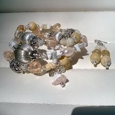 A Beautiful and Unique Chunky Beige and Silver Themed Memory Wire Wrap Bracelet and Earring Jewellery Set by STRICTLYBOHOltd on Etsy