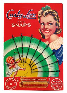 Curly Lox Hair Snaps Bobbie Pins on colorful card 1940's