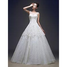 Ball Gown Jewel Floor-length Lace And Tulle Wedding Dress (HS419) – USD $ 179.99