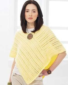 Get the hang of poncho knitting with this simple pattern that features a basic poncho shape.  With lines of lace constructed from delicate yarn, this is one of those free easy knitting patterns that begs to be worn during the summer.  To assemble you