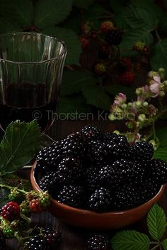 Blackberries and a glass of red wine
