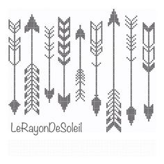 Modern cross stitch pattern indian arrows black white by LeRayonDeSoleil on Etsy