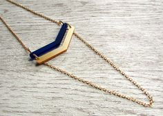 Gold Chain Necklace - Statement necklace - Floating Chevron Necklace - Preppy Jewelry - Long Gold Necklace - Laser Cut Acrylic - WVU - Blue
