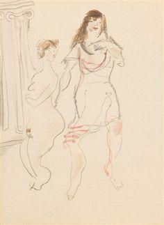 Weiblicher Akt und Frau im Unterrock von Max Schwimmer