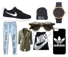 """""""#casual #adidas #black 😄"""" by pink-maja ❤ liked on Polyvore featuring Chicnova Fashion, NIKE, adidas, Marc Jacobs and ZeroUV"""