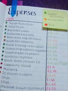 Bullet Journal Expense Log - clever idea! Flagging your expenses in order (color) of necessity.