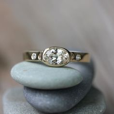 White Sapphire Engagement Ring in 14k Yellow Gold, Conflict Free and Natural Sapphire Artisan Wedding Ring