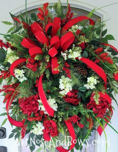 Christmas Wreaths Portfolio - Professional Wreath Designs Outside Christmas Decorations, Christmas Swags, Christmas Ribbon, Holiday Wreaths, Christmas Crafts, Winter Wreaths, Rustic Christmas, Christmas Ideas, Pool Noodle Christmas Wreath
