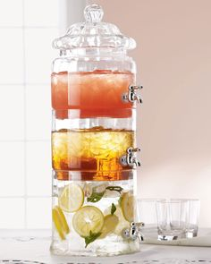 Stacked Optic-Glass Beverage Server: Holds 2.5 gallons!
