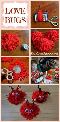 Video and written instructions for making Valentine's Day LOVE BUGS. Valentines Bricolage, Kinder Valentines, Valentine Day Love, Valentines Day Party, Valentine Wreath, Valentine's Day Crafts For Kids, Valentine Crafts For Kids, Valentines Day Activities, Holiday Crafts