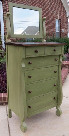 Normally I just cry for solid wood furniture if it's been painted, but I don't mind this at all. Chrissie's Collection.
