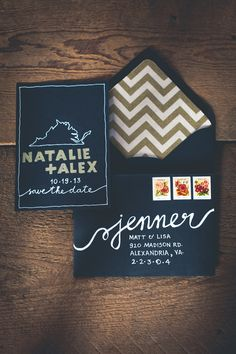 Black and Gold Save the Date Cards | photography by http://onesummerdayphoto.com