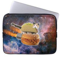 taco catand rockethamburger in the universe laptop sleeve