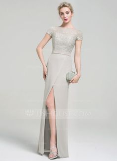 Sheath/Column Scoop Neck Floor-Length Beading Sequins Split Front Zipper Up Sleeves Short Sleeves No Other Colors Spring Summer Fall General Plus Chiffon Evening Dress