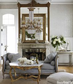 Gray with Gold.  Family living room french country