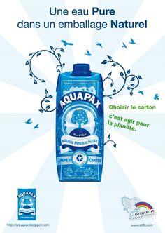 Les fonctions : -Technique : AQUAPAX se présente sous forme de brique (TETRA PACK) de 500ml. Type d'emballage que l'on retrouve souvent pour le lait ou les jus de fruits offre une excellente qualité de transport et de conservation, bien que le poids soit légèrement plus important que pour une bouteille classique il n'en devient pas dérangeant. A noter toutefois son opacité qui ne permet pas de voir l'eau fait rarissime dans se secteur qui pourrait rebuter certains consommateurs potentiels. Tetra Pack, Packaging Machinery, Important, Transport, Conservation, Milk, Products, Brick, Wrapping