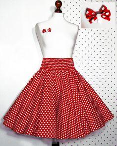 50er Jahre Tellerrock + Schleife rot weiß Punkte 34 36 38 40 Rock z. Petticoat | eBay