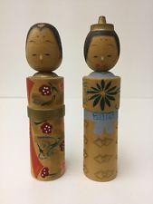 2 Kokeshi Japanese Dolls Wooden Wood