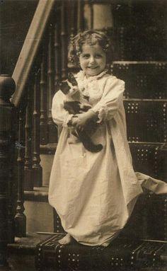 Charming vintage kitty and companion