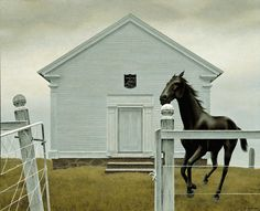 Church and Horse Author: Alex Colville (Canadian, 1920 – Acrylic on hardboardLocation: Montreal Museum of Fine A. Alex Colville, Canadian Painters, Canadian Artists, Art Inuit, Montreal Museums, Montreal Quebec, Bachelor Of Fine Arts, Magic Realism, Naive Art