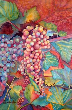 """Grapes in Fall"" by Debbie Abshear. Watercolor."