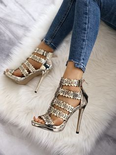 Shiny Hollow Out Stiletto Heel Sandals