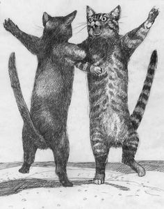 cats in celebration - Brad Holland Character Illustration, Illustration Art, Lots Of Cats, Art Archive, Cat Drawing, Cute Icons, Beautiful Cats, I Love Cats, Cat Art