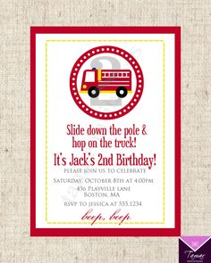 Printable Birthday Invitation Card Fire Truck  by TamarInvitations, $9.00