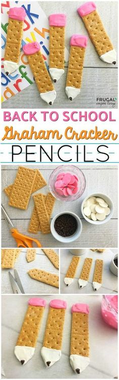 Another kids food craft! Look at this creative and fun Back to School Snack Idea – Graham Cracker Pencils. Make with everyone's favorite cracker (cookie) and chocolate! What is not to love? Rec