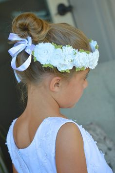 Wedding Garland Headband White Felt Flower Bridal by bloomz www.bloomz.etsy.com