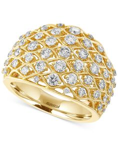 D'Oro By EFFY Diamond Openwork Ring (1-1/4 ct. t.w.) in 14k Gold - Rings - Jewelry & Watches - Macy's