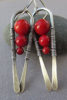 Silver Earrings with Red Coral/ Bamboo Coral Earrings/ by mese9, $29.00