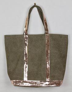 Vanessa Bruno style sac cabas sac à main paillettes or rosé sac cabas toile  kaki sac 5abc0728959e