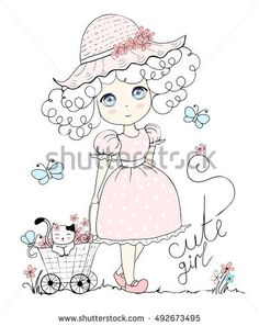 illustration cute girl, little cat, cute girl and flowers vector, butterfly, In pastel color,  pretty