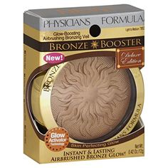 Physicians Formula Bronze Booster Glow-Boosting Airbrushing Veil Deluxe Edition creates an instant skin perfecting glow. Italian technology combines luxurious powder, baked and cream bronzers to deliver a flawless airbrushed look. Physicians Formula Bronze Booster, Physicians Formula Makeup, Highlighter And Bronzer, Too Faced Bronzer, Drugstore Makeup Dupes, Beauty Dupes, Urban Decay Eyeshadow, High End Makeup, Makeup Kit