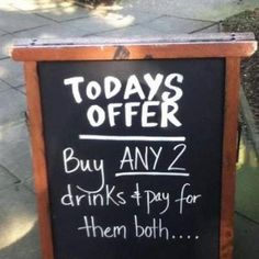 We've always enjoyed coming across clever chalkboard signs so we thought we would share our favorites with you! As you scroll through the list, keep in mind these four ways chalkboard signs are helping attract foot traffic. Funny Bar Signs, Pub Signs, Beer Signs, Funny Bar Quotes, Humour Quotes, Drink Signs, Wine Quotes, Wall Signs, Little Britain