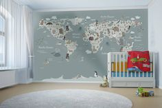 World map removable wallpaper for kids bedroom - decor ideas