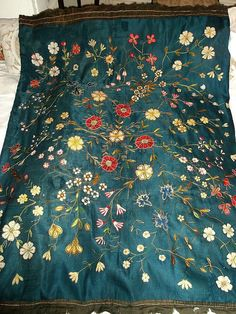 Antique Crewel Embroidered Panel by FleaWhoSaysOUI2 on Etsy
