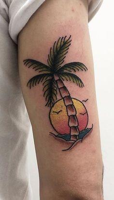 125 Unique Palm Tree Tattoos You'll Need to See - Tattoo Me Now Beachy Tattoos, Palm Tattoos, Body Tattoos, Sleeve Tattoos, Geometric Tattoo Tree, Hip Hop Tattoo, Blackpink Twitter, Rose Tat, See Tattoo