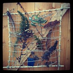Allotment Art - made with 4 sticks for the frame and garden twine. Great activity for children to do in the garden/allotment.