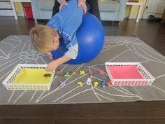 One of our favorite tools for sensory processing therapy at home is our exercise ball.