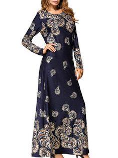 Slim Women Printed Maxi Dress