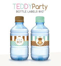 Baby shower water labels, Printable bottle wrappers, Water labels, Teddy bear party, Gender reveal shower, Boy baby shower decor, Its a boy de PrintableArtWishes en Etsy https://www.etsy.com/es/listing/548825975/baby-shower-water-labels-printable