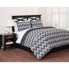 East End Living Classic Chevron 3-Piece Bedding Duvet Set, Black - Walmart.com