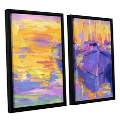 Boats Impressionism Harbor Colorful by Svetlana Novikova 2 Piece Floater Framed Canvas Set