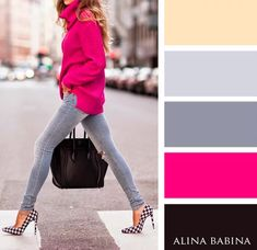 Trendy dress pink and black color combos Ideas Colour Combinations Fashion, Color Combinations For Clothes, Color Blocking Outfits, Fashion Colours, Colorful Fashion, Color Combos, Color Harmony, Color Balance, Cool Winter
