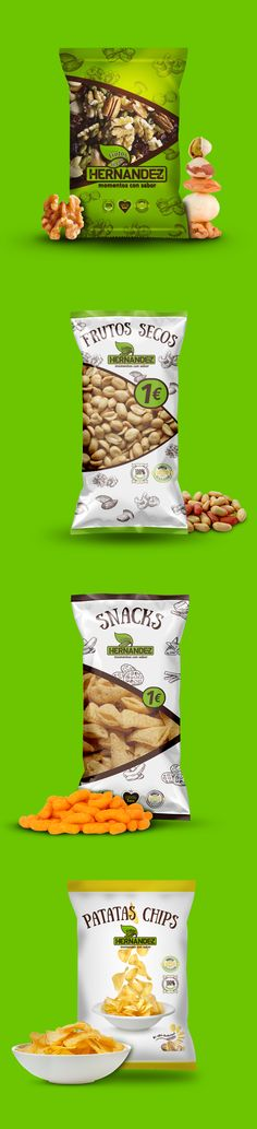 Proyecto de #packaging para la #marca de Frutos Secos Hernández. 2016. #design #branding #nuts #snack